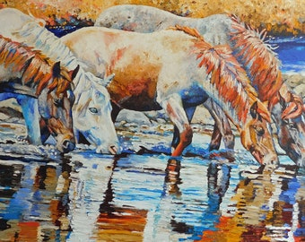"""Original Horse Friends Oil Painting 30""""x40"""" painted by hand in the USA"""
