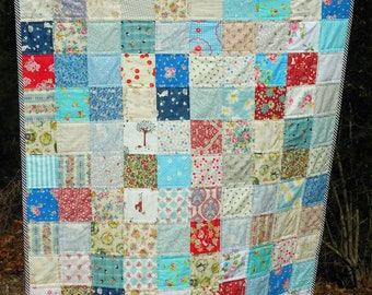 Lap Quilt Throw or Toddler Blanket in Red White Blue Charming cotton prints