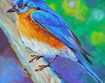 """Original Bluebird oil Painting 8""""x8"""" painted by hand in the USA"""