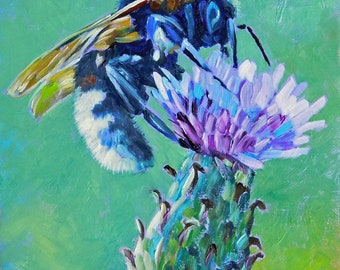 """Original Bee & Thistle Oil Painting 8""""x8"""" painted by hand in the USA"""