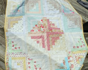 """Quilted Log Cabin Lap Quilt in Romantic Colors 42""""x52"""" made by hand"""