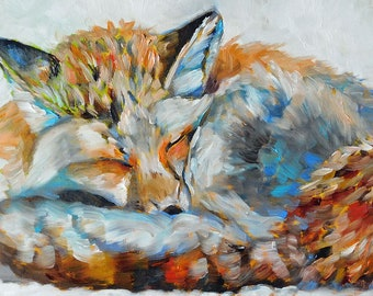 """Original Fox in Winter Oil Painting 6""""x12"""" one of a kind painted in the USA"""