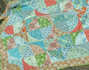 Lap Quilt in Denyse Schmidt Fabrics Autumn Colors made by hand in the USA