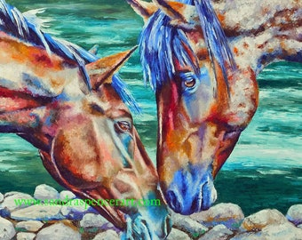 """Original Horse Friends Oil Painting 24""""x36"""" softly by the river's edge"""