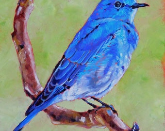 """Original Mountain Bluebird Oil Painting 8""""x8"""" painted by hand in the USA"""