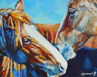 """Original Horse Friends oil Painting 11""""x14"""" painted by hand in the USA"""