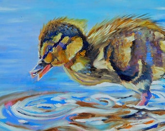 """Original Duckling Oil Painting 6""""x12"""" painted by hand in the USA"""