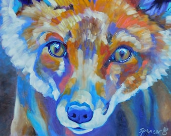 """Original Fox Portrait Oil Painting 9""""x12"""" painted by hand in the USA"""