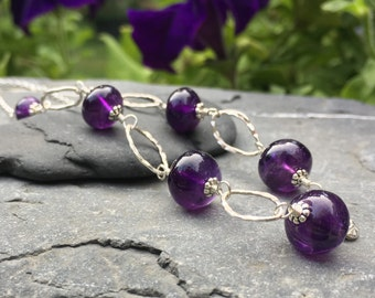 Amethyst Sterling Silver Gemstone Necklace - 17 Inches Long - Big Polished Round Smooth Stones - Natural Semiprecious Gems - Dark Purple