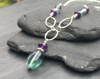 Fluorite and Amethyst Sterling Silver Necklace, Handmade Gemstone Jewelry, Natural Semiprecious Stone Jewelry, Fluorite Pendant, 18 inch