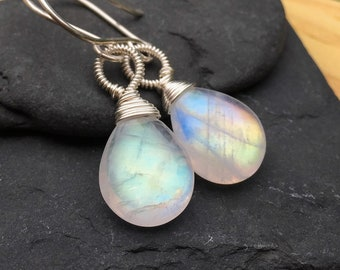 Fiery Rainbow Moonstone Earrings, Sterling Silver Dangle Earrings, Natural Gem Stone, Big Smooth Teardrop, Real Genuine Gemstone, Blue Fire