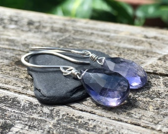 Iolite Earrings - Sterling Silver Handmade Jewelry Wirewrap Dangle Earrings, Faceted Blue Gem Stone - Shepherds Hooks - Leverback Hooks