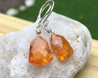 Mandarin Garnet Sterling Silver Dangle Earrings, Orange Garnet, Handmade Gemstone Jewelry, Wirewrap Jewelry, Faceted Stone, Natural Garnet