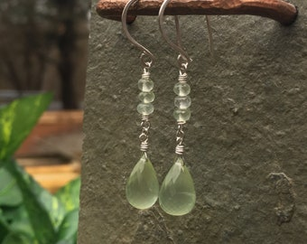 Long Prehnite Gemstone, Sterling Silver Dangle Earrings - Teardrop Faceted Spring Green Gemstone - Shepherds Hooks - Leverback Hooks