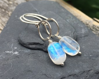 Rainbow Moonstone Sterling Silver Dangle Earrings - Bright Blue Fire - Rustic Handmade Gemstone Jewelry - Hammered Silver Gem Stone Drops