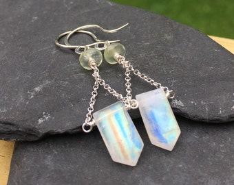 Rainbow Moonstone and Prehnite Sterling Silver Dangle Earrings - Unique Handmade Jewelry, Natural Gemstones - Earwires or Leverback Hooks