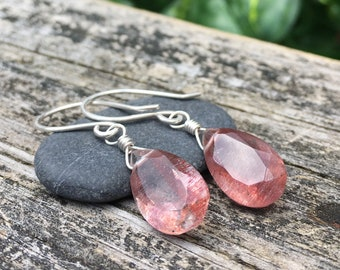 Big Lepidocrocite Gemstone Dangle Earrings - Sterling Silver - Faceted Teardrop Concave Cut - Handmade Wirewrap Artisan Gem Stone Jewelry