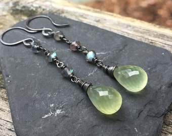 Prehnite and Labradorite Long Dangle Gemstone Earrings - Oxidized Sterling Silver - Green Blue Spring Gems - Shepherds Hooks- Natural Stones