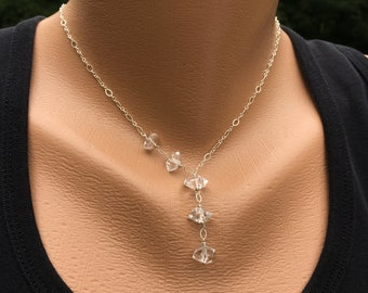 Herkimer Diamond Necklace, Herkimer Diamond Crystals, Herkimer Diamond Jewelry, Sterling Silver Necklace, 5th Anniversary Gift for Her