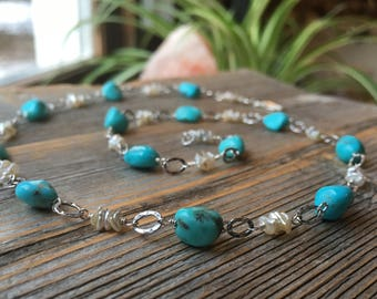 Luxe Campitos Turquoise and Keishi Pearl Sterling Silver Necklace - 19 Inch Long - Summer Bride Tropical Beach Wedding Handmade Jewelry