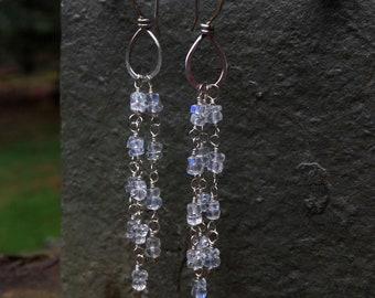 Long Glittering Blue Rainbow Moonstone Earrings - Sterling Silver - Cascade Dangle Artisan Gem Stone Jewelry - Faceted Moonstone Gemstones