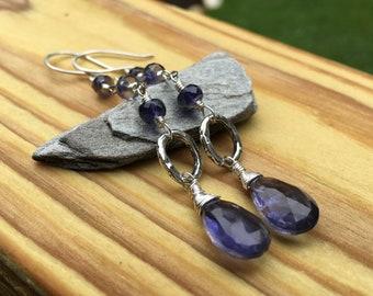 Extra Long Iolite Gemstone Earrings, Sterling Silver Dangle Earrings, Faceted Blue Gem Stones, Shepherds Hook Earwires or Leverback Hooks