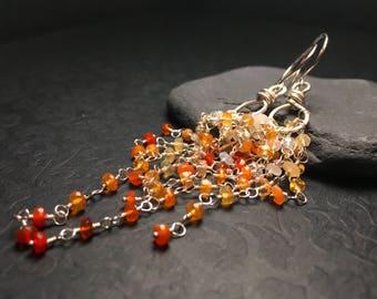 Mexican Fire Opal Earrings - Sterling Silver Long Dangle Earrings - Opulent Gemstone Cluster - Red Orange Yellow White Opals - One of a Kind
