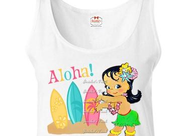 Pool Party Shirt - Women's Beach Tank - Womens Hula Tank - Ladies Surf Shirt - Hula Girl Shirt - Retro Tank - Vintage Size S M L Xl XXL
