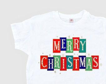 "Women's Christmas Shirt - Retro Christmas Shirt - ""Merry Christmas"" Blocks - Mid Century Shirt Ladies - T Shirt Adult Size  S M L Xl 2Xl"