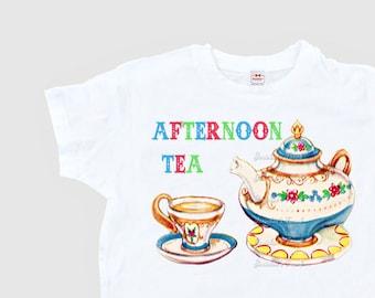 Tea Party Shirt - Afternoon Tea Shirt - Women's Shabby Tea Shirt - Ladies Tea Party - Teapot Shirt - Teacup Tee Adult Size XS S M L Xl 2Xl