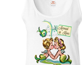 "Mermaid Shirt Tank - Women's ""Mermaid Kisses"" Shirt - Mermaid Babies Shirt - Mermaid Party Tank - Pool Party Retro Adult Size S M L XL XXL"