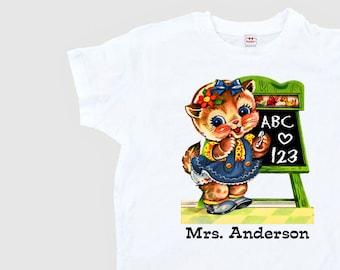 Teacher Shirt - School Kitty Teacher - Retro School Shirt Personalized - Women's Teacher Shirt - Back to School Adult Size XS S M L Xl 2Xl