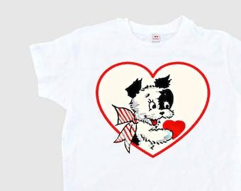 Valentine Shirt Women - Valentine Gift - Dog Retro Valentine - Heart Puppy Womens Shirt - Women's Heart Gift T Shirt Adult Size S M L Xl 2Xl