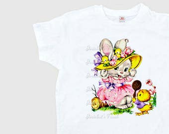 Easter Bunny Shirt - Women's Easter T Shirt - Easter Retro Adult Tee - Misses Easter Tshirt - Pastel Easter Ladies - Womens S M L Xl 2Xl