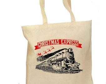 "Christmas Train Tote Bag - ""Christmas Express"" Gift Bag -  Retro Gift Canvas Vintage Fabric Personalized Canvas Bag - Santa Train Tote Bag"