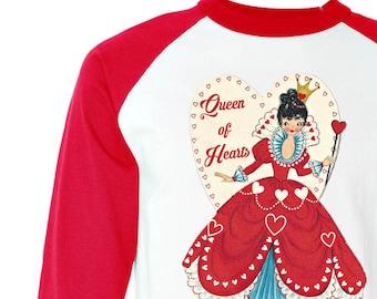 "Valentine Womens Shirt - Adult Valentine Shirt - ""Queen of Hearts"" Shirt - Baseball RED - Retro Valentine Shirt - XS S M L Xl 2XL 3XL"