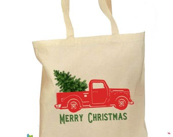 Pickup Truck Tote Bag - Christmas Gift Bag - Red Truck Tree Retro Gift Canvas Vintage Fabric Personalized Canvas Bag - Rustic Christmas