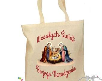 Polish Christmas Tote Bag - Wesolych Swiat Bozego Narodzenia - Gift Canvas Vintage Fabric - 2 Sizes - Nativity Traditional Santa Tree Bag