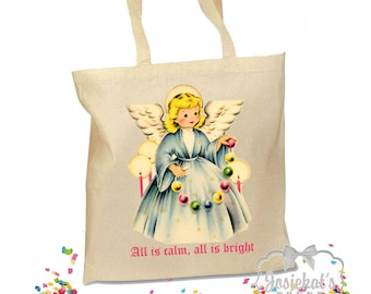 Christmas Tote Bag - Christmas Angel Tote - Gift Canvas Vintage Fabric - 2 Sizes - Nativity Traditional Christian Bag - Angel Personalized