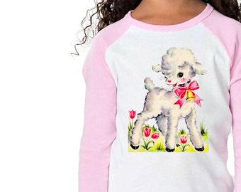 Girl Easter Shirt - Easter Lamb Tshirt - Easter Pink White Baseball - Girl Infant Shirt - Personalize Toddler Infant - Custom Size Retro