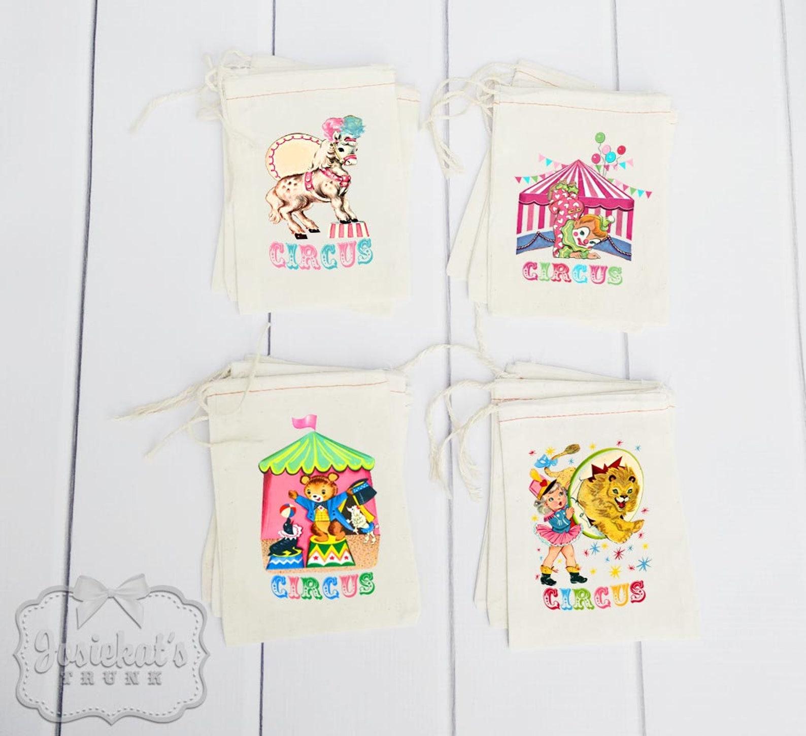Circus Party Muslin Favor Bags