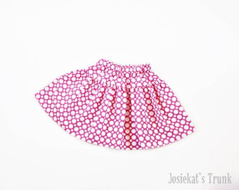 Pink Dot Skirt Twirl Girl Tween Junior White 4 5 6/6X 7/8 10 12 14 16