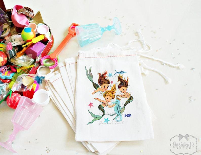 Mermaid Party Retro Birthday Seahorse Goodie Bag Vintage Custom 4X6 10 count or 6 X 8