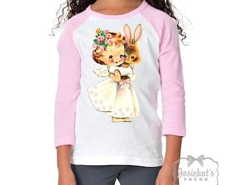 Girl Easter Shirt - Bunny Angel Tshirt - Easter Pink White Baseball - Girl Bunny Shirt - Personalize Toddler Infant - Custom Size Retro