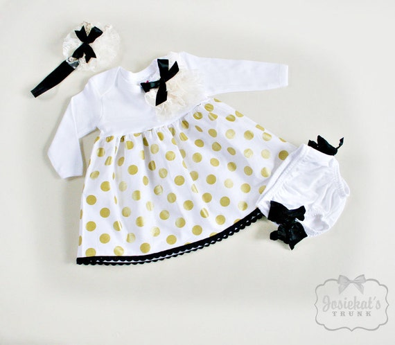 7a3552930 Gold Dot Dress Infant 3 Piece Outfit Baby Christmas Dress