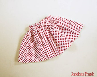 Red Dot Skirt Twirl Retro Infant Toddler Cotton Fabric 0/6 6/12 12/18 18/24 2T 3T 4T