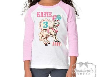Pink Circus Shirt - Circus Pony Shirt - Circus Pink White Baseball - Girl Circus Party Shirt - Personalize Toddler Infant - Retro Circus Tee