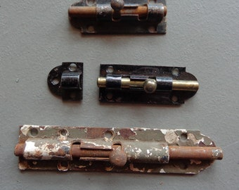 Used Vintage Salvage Lot of 3 Slide Bolt Locks for Use Crafts Repurpose Steampunk