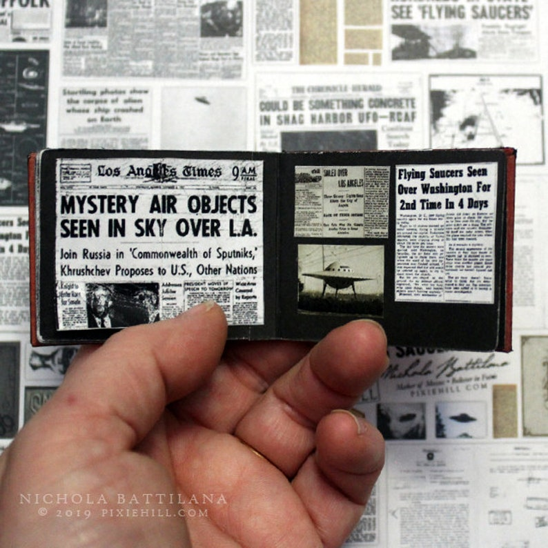 UFO/Flying Saucer SCRAPS Digital Collage Sheet PDF Download miniature  newspaper scraps, pictures and more
