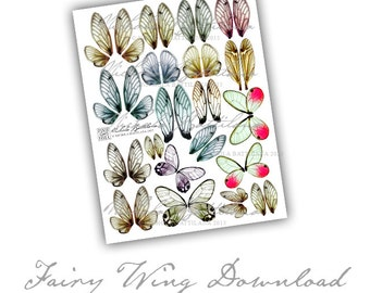 Fairy Wings Digital Collage Sheet PDF Download